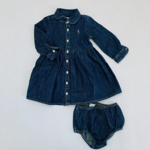 Denim kleedje + bloomer Ralph Lauren 9m