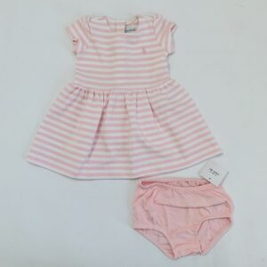 Kleedje shortsleeve stripes + bloomer pink Ralph Lauren 9m