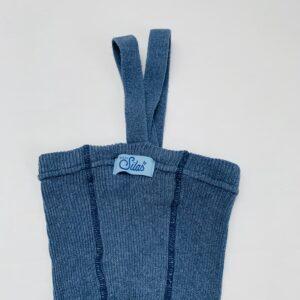 Gebreid broekje met bretellen blauw zonder voetjes Silly Silas 62/68
