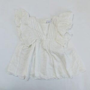 Kleedje kant wit met frill mouwtjes Zara 6-9m / 74