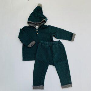 Gevoerde set donkergroen hoodie + broekje H&M 9-12m / 80