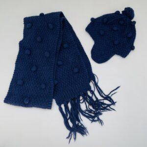 Sjaal + muts tricot donkerblauw Aymara M / 6-8jr
