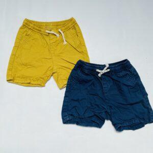 2x short met rekker blauw/mustard Zara 18-24m / 92