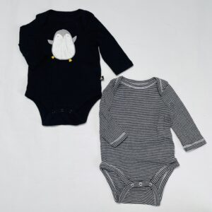 2x romper longsleeve pinguïn / stripes Babygap 0-3m