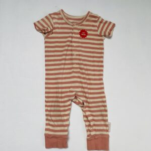 Onesie geribd shortsleeve pink stripes Tiny Cottons 9m