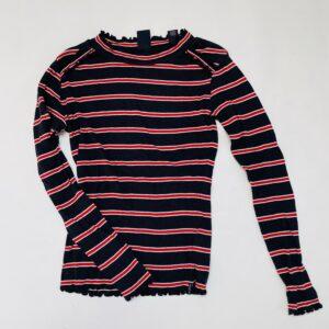 Longsleeve geribd stripes red/dark blue Scotch R'Belle 10jr / 140