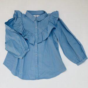 Blouse blauw frill Zara 8jr / 128